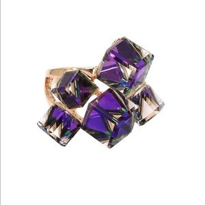 Square candy purple crystal ring